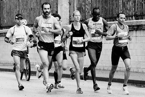 black-and-white people jogging people