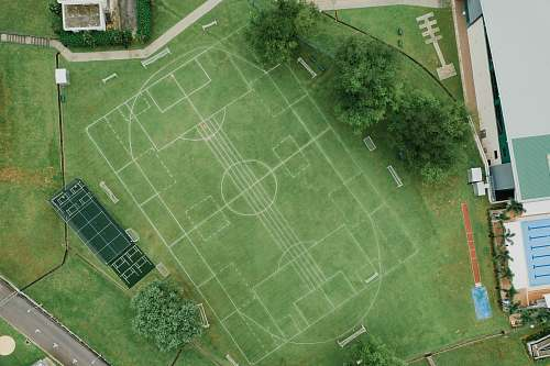 sport top view photography of game field people