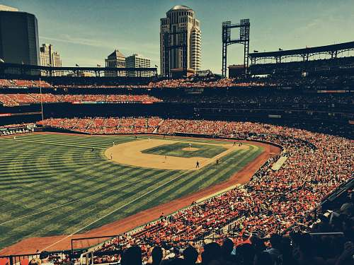 outdoors high-angle photography of baseball field aerial view