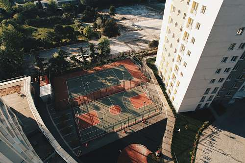 outdoors aerial view of basketball courts scenery