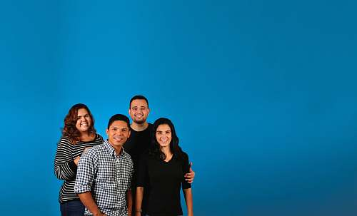 human family photo with blue background person