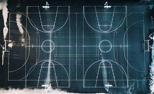human green and white basketball court in top view photography basketball