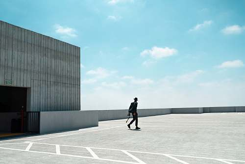 human person walking on rooftop person