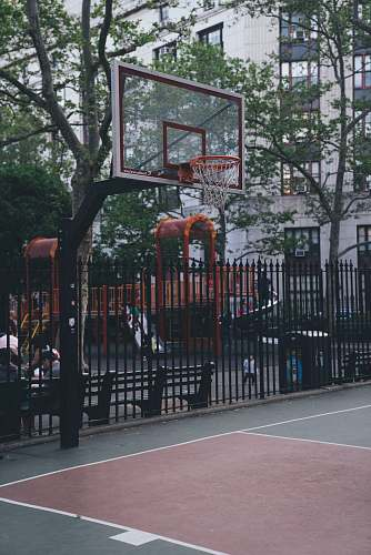human white and black basketball hoop person