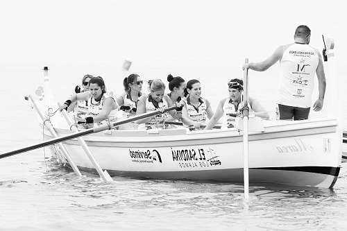human group of people dragon boating black-and-white