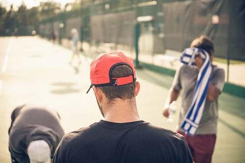 human man wearing red cap people