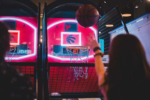 human two person playing basketball arcade games people