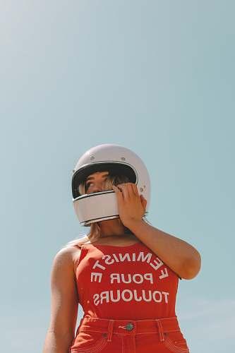 people woman wearing helmet helmet