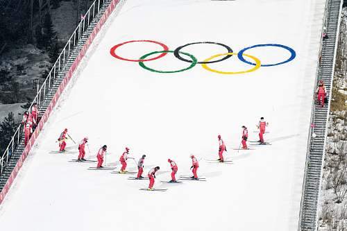 snow people skiing during Winter Olympics white