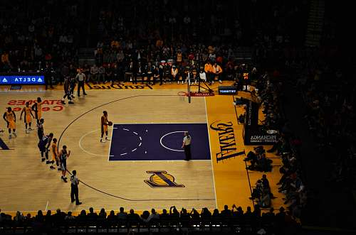 people Lakers player taking technical freethrow basketball