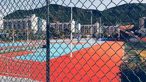sports sports field inside fence tennis court