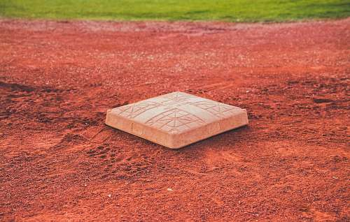sports square brown concrete baseball base on soil baseball