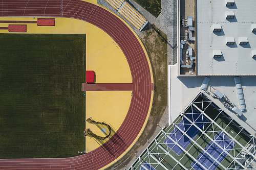 sports top view of stadium brown