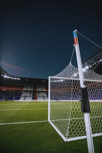 football white steel soccer goal net lyon olympic stadium