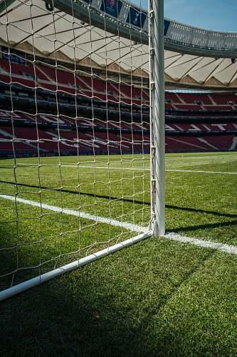 football white goalie net field