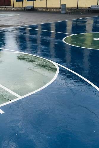 usa blue and green basketball court school yard