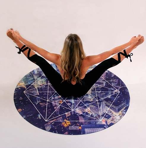 girl woman doing acrobat on floor yoga