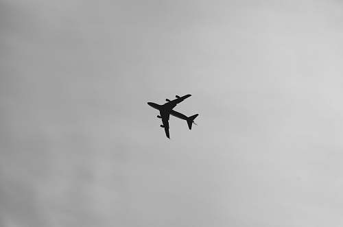 black-and-white selective focus photography of airplane on air during daytime flying