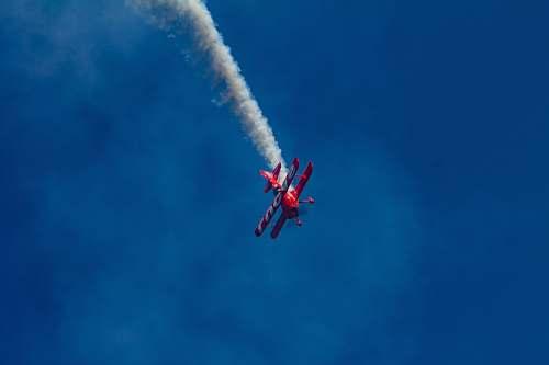 animal red bi-plane performing aerial show flying