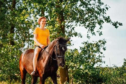 mammal woman riding horse during daytime human