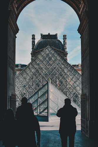 person people standing and facing Louvre Museum people
