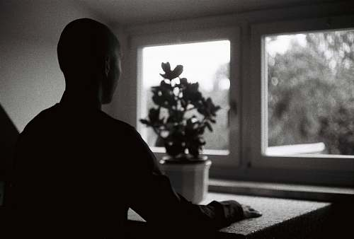 silhouette person sitting in front of table with plant black-and-white