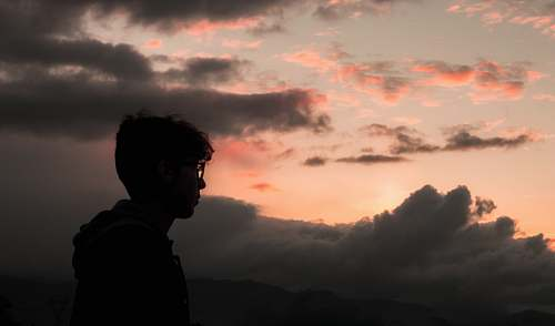 nature silhouette of man wearing glasses person