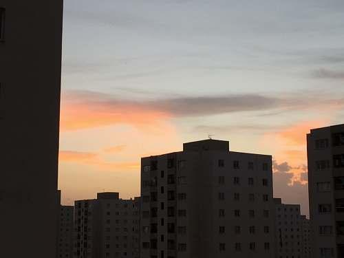 outdoors orange sky over city skyline at dusk dawn