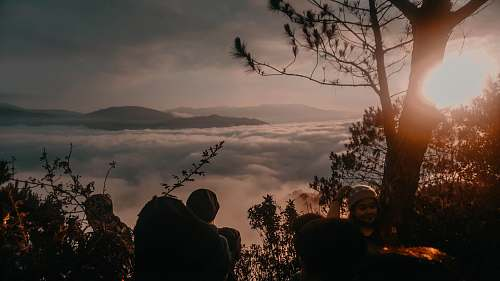 human people hiking on forest viewing mountain person