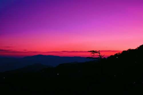 outdoors silhouette of mountain dawn