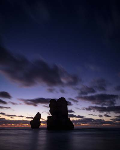 outdoors silhouette of rock tower dawn
