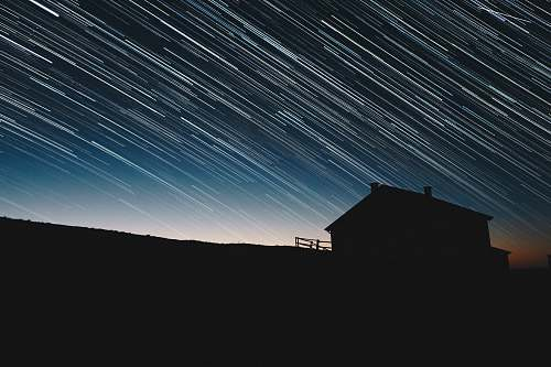 night time-lapse photography of house silhouette at night background