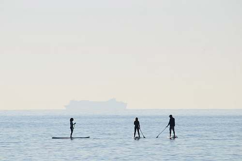 sea people riding on paddle boards water