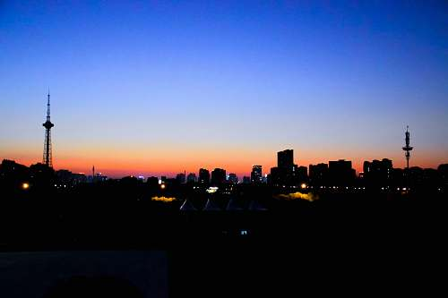 nature city skyline during dusk dawn