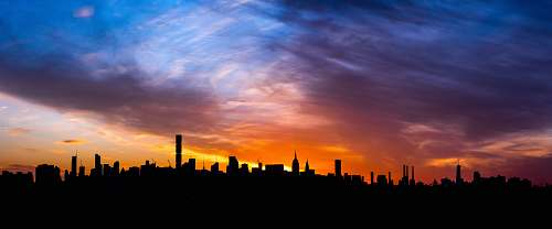 nature silhouette of buildings dawn