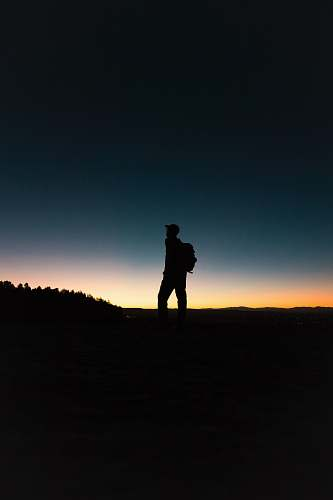 person man with backpack in silhouette human