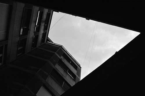 black-and-white gray concrete building grey