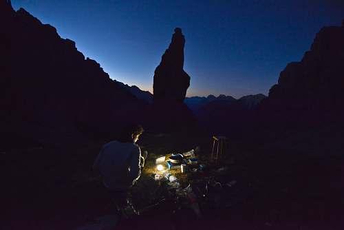 human man using light during nighttime camping