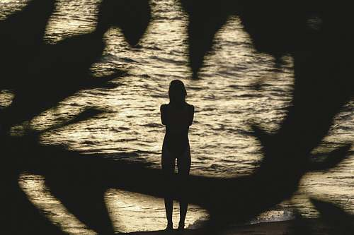 human photo of person standing near body of water person