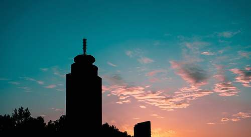 nature silhouette of building at sunset outdoors