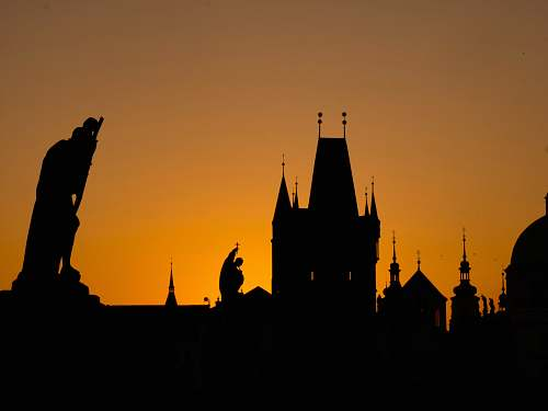 spire silhouette of buildings architecture