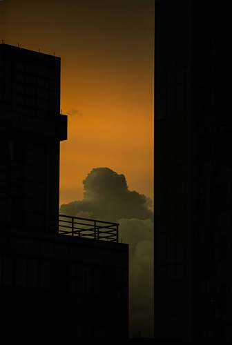 nature silhouette of buildings under gray skies outdoors