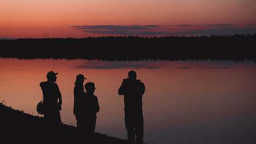 person silhouette of four person human