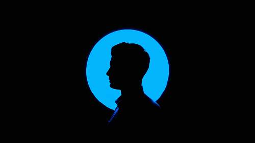 blue silhouette of man illustration people
