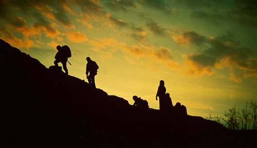 human silhouette of people trekking during golden hour person