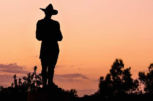 human silhouette of person wearing hat sky