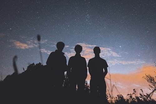 person silhouette of three people standing on tall grass during nighttime human