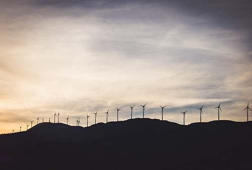 photo greece silhouette photo of wind turbines on hill turbine free for commercial use images