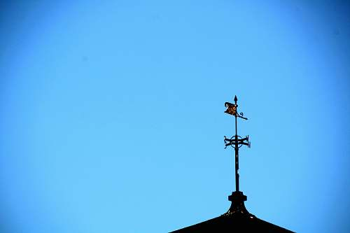 photo nature wind vane on rooftop under blue sky blue free for commercial use images