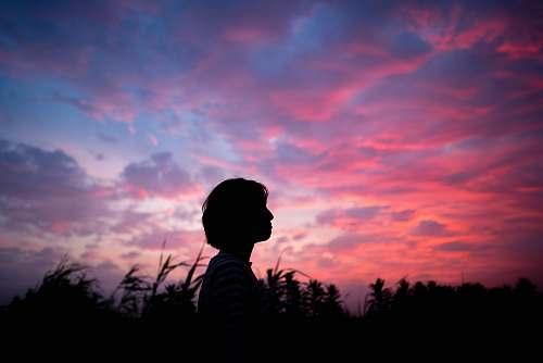 nature woman standing near the field sunset